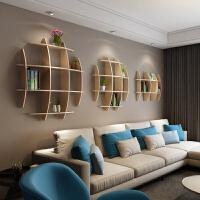 博古架实木格子架创意电视背景墙壁书架装饰客厅壁挂墙上置物架