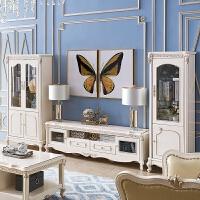 欧式酒柜实木客厅装饰柜法式玻璃红酒柜储物边柜双门描金带抽柜 酒柜