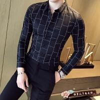 2018年春季新品男装时尚修身男士长袖衬衫潮发型师 休闲格子英伦