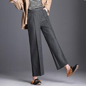 冬季羊毛毛呢阔腿裤中腰松紧腰加厚毛呢裤