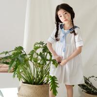 女童海军风连衣裙夏装2018新款韩版小清新中大童装领带学院风裙子