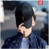 秋天男士帽子潮牌鸭舌帽韩版青年棒球帽黑色刺绣简约学生百搭休闲