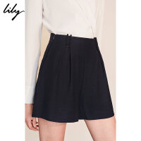 Lily春新款女装藏蓝色腰间装饰A型短裤休闲裤118300C5221
