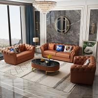 美式真皮沙发后现代轻奢小户型客厅整装单双三人转角组合头层牛皮 其他