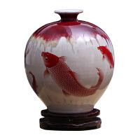 家居摆件陶瓷器仿古窑变冰片裂纹釉石榴花瓶插花新中式古典