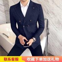 双排扣条纹小西装男帅气修身韩版西服发型师潮流秋季男士单西外套