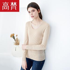 【1件3折 到手价:129元】高梵秋季新款v领针织衫女修身长袖羊毛衫打底衫女套头毛衣