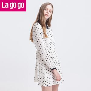 Lagogo/拉谷谷长袖波点甜美可爱连衣裙