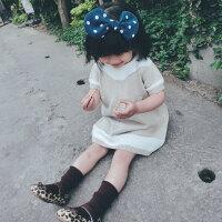 女宝宝开衫外套儿童短袖连衣裙洋气两件套杏色针织女童套装