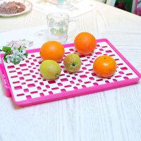 家英欧式双层餐具滤水架 水果托盘--玫红色