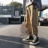 2018春季新款韩版男士工装裤潮裤九分裤哈伦裤纯色百搭9分休闲裤