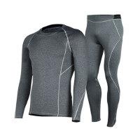 新款男士长袖骑行服 户外骑行运动快干内衣套装 长裤加厚保暖长袖上衣