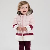 davebella戴维贝拉 女童秋冬中长款羽绒服 儿童拼色保暖羽绒服