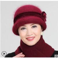 中老年帽子女针织毛线帽妈妈帽围巾两件套兔毛加厚老人帽