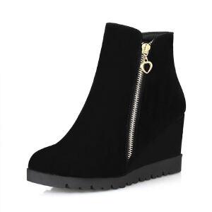 ELEISE美国艾蕾莎新品秋冬180-A-16韩版磨砂绒面坡跟女士短靴