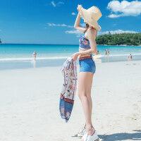 情侣三件套游泳衣女钢托小胸聚拢性感分体裙式平角比基尼男沙滩裤