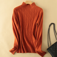 秋冬新款加厚半高领100%羊绒衫女纯山羊绒衫短款堆堆领套头毛衣