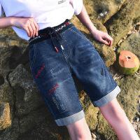 牛仔短裤女夏松紧高腰弹力阔腿五分裤宽松新款显瘦热裤女