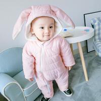 婴儿冬装新生儿外出抱衣服0-3个月男女宝宝6加厚秋冬季哈衣连体衣