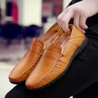 【保暖季大促满299减200】【优质牛皮】新款男士休闲皮鞋 透气 软底 软皮驾车男鞋透气懒人鞋英伦真皮鞋子百搭男鞋