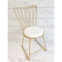 北欧ins美容化妆靠背椅子餐厅奶茶店桌椅金色铁艺美甲梳妆椅