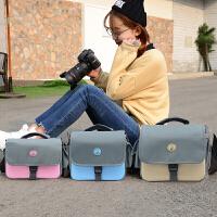佳能相机包单反便携可爱摄影包200D760d800d600D700D750D 1300D 款小号蓝色+防雨罩