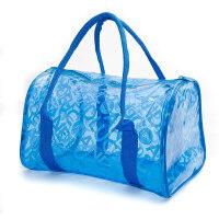 游泳包果冻防水包 收纳袋 便携式单肩包袋 游泳用品收纳包新品 SM手提字母包 蓝色