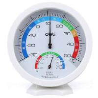 得力9016温湿度计 办公家用高精度室内外可立放式婴儿房温度表 白色