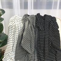 8新款韩版条纹宽松长袖T恤男士港风打底衫情侣上衣服潮流