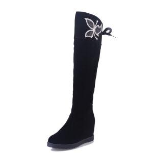 ELEISE美国艾蕾莎新品秋冬182-2-999韩版磨砂绒面内增高女士高筒靴