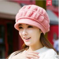 女士韩版新款针织鸭舌贝雷帽子毛线帽兔毛帽潮韩国保暖