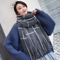 围巾女冬季网红款韩版时尚百搭围脖女加厚保暖针织粗毛线长款格子披肩