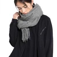 加厚纯羊毛围巾女秋冬季时尚保暖纯色灰色长两用围脖韩版百搭披肩