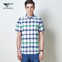 【3折价:99】七匹狼短袖衬衫夏季男士短袖衬衣标准男士衬衫111630504033