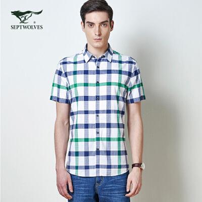 【3折价:99】七匹狼短袖衬衫夏季男士短袖衬衣标准男士衬衫111630504033 满1件3折