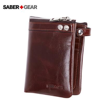 瑞士军刀男士休闲商务真皮竖款钱包 多功能卡包钱夹BP7403