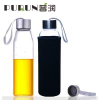 普�� 550ML耐�岵A�水瓶��意��d玻璃杯子�V泉水瓶���w茶杯PRB15黑色