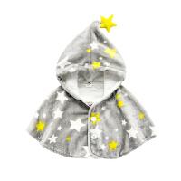 婴儿斗篷秋冬款儿童披肩女新生儿衣服外出保暖外套男宝宝披风冬装W