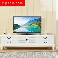 实木电视柜中式现代简约地柜美式茶几电视机柜组合小户型客厅迷你 白色2米 升级款 整装