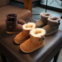 真皮男童雪地靴2017冬季新款儿童加厚棉靴皮毛一体宝宝保暖雪地靴