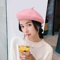 日系羊毛呢蓓蕾帽女 新款英伦复古贝雷帽女 韩版百搭甜美可爱画家帽子女