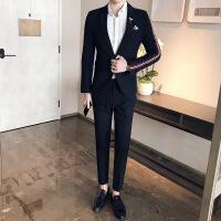 夜店型男少爷修身小西装时尚男士免烫西服+西裤两件套装发型师潮