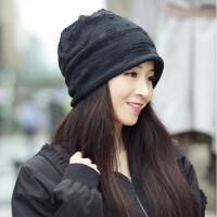 帽子女韩版潮百搭时尚加绒保暖头巾包头帽针织帽