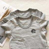 2件装男童T恤薄款男宝宝短袖无荧光睡衣家居服打底T恤 图片颜色各一件