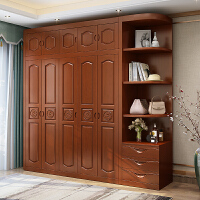 实木衣柜现代简约3门4门5门6门中式橡木卧室组装经济型转角柜家具