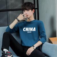 长袖T恤青少年纯棉印花秋衣男宽松上衣加大打底衫CHINA