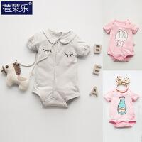 婴儿连体衣服宝宝新生儿三角哈衣0岁3月包屁衣短外出服新年