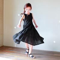 女童沙滩裙海边度假连衣裙波西米亚长裙夏季中大童母女装黑色