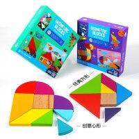 美乐七巧板智力幼儿园儿童益智创意木质拼图玩具幼儿积木3-4-5岁