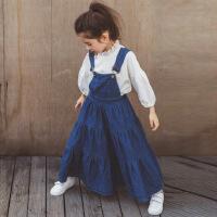 女童背带裙秋2017新款韩版套装中大儿童牛仔长裙上衣两件套二件套